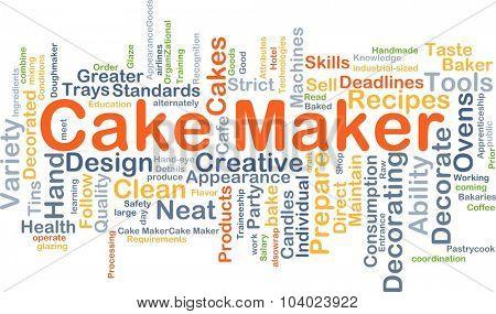 Background concept wordcloud illustration of cake maker