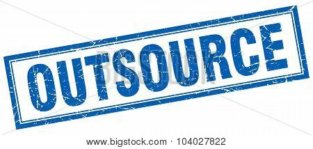 Outsource Blue Square Grunge Stamp On White