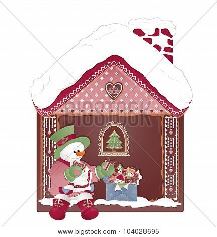 Christmas Card With Snowman And Ginger House