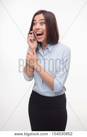 speaking business woman on white background