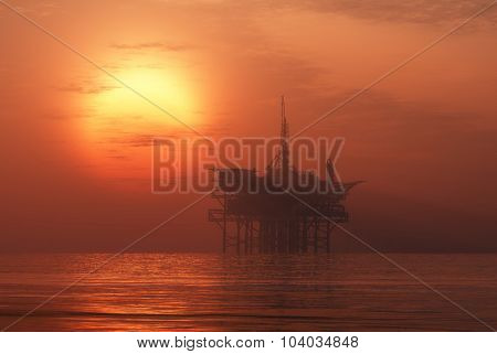 Oil production into the sea in the fog.