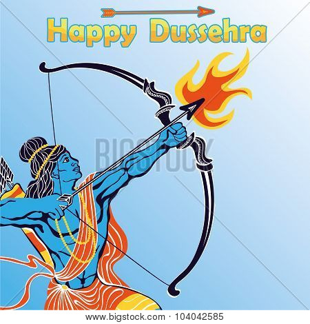 Happy Dussehra card.Lord Ramaportrait with bow and arrow and fire killing Ravana .Holyday background.Vector poster