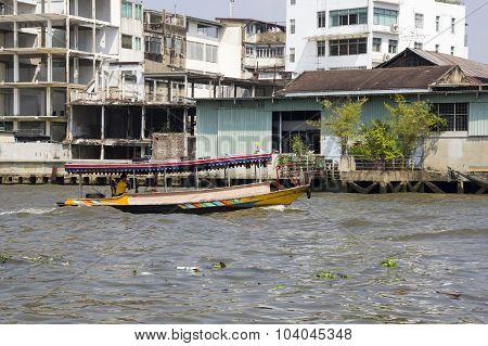 Houses along the river Chao Phraya Bangkok Thailand poster