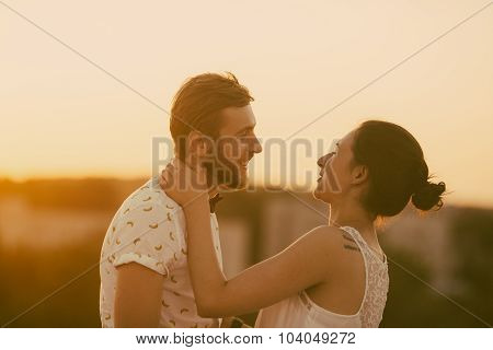 beautiful couple in the city