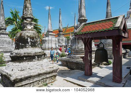 People visit Chedi Phra Baromathat in Nakhon Sri Thammarat, Thailand.