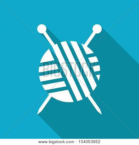 Vector white flat tailor ravel ball of yarn for knitting icon on blue background poster