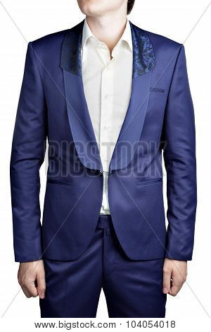 Dark Blue Prom Suit For Men, No Buttons, Clasp Closure.