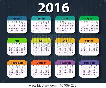 Calendar 2016 year German. Week starting on Monday
