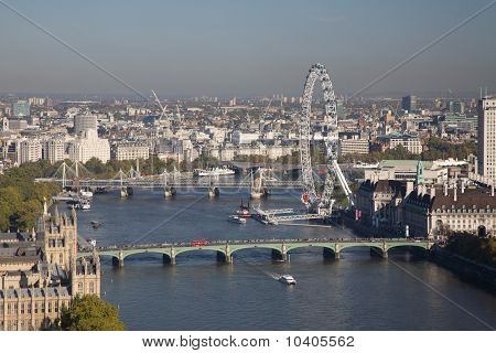 Aerial view on Houses of Parliament and  London Eye.