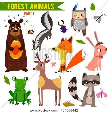 Vector Set Of Cute Woodland And Forest Animals. Part I: Bear, Frog, Skunk, Owl, Fox, Deer, Raccoon,