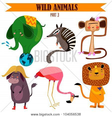 Vector Set-wild Animals In Cartoon Style. Part 3: Elephant, Numbat, Monkey, Flamingos, Lion, Yak.bri