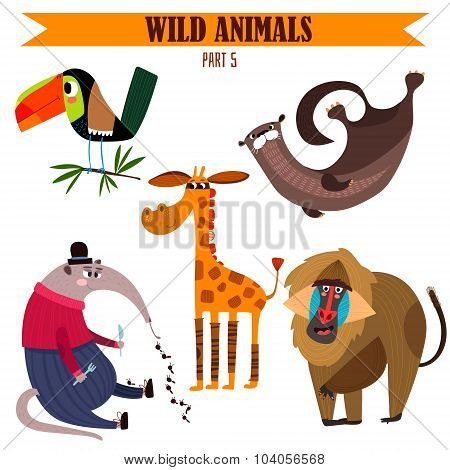 Vector Set-wild Animals In Cartoon Style. Part 5: Toucan, Baboon, Giraffe, Otter, Anteater.bright Ch