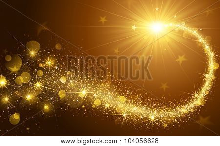 Christmas background with gold magic star. Vector illustration