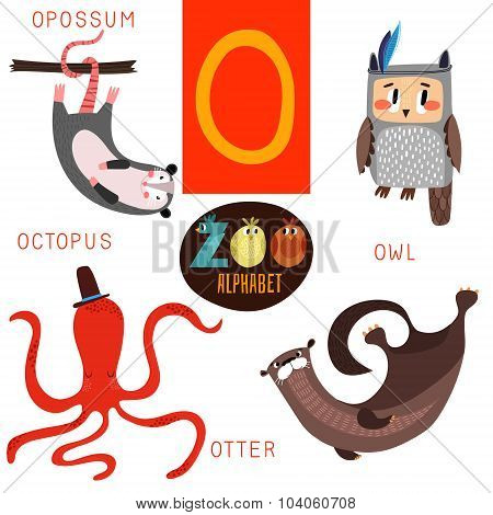 Cute Zoo Alphabet In Vector.o Letter. Funny Cartoon Animals:opossum,owl,octopus,otter. Alphabet Desi
