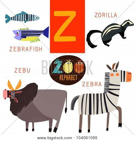 Cute Zoo Alphabet In Vector.z Letter. Funny Cartoon Animals:zebrafish,zorilla,zebu,zebra. Alphabet D