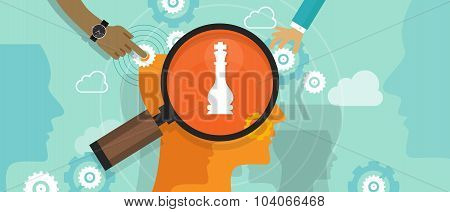 positioning in consumer customer mind marketing market strategy concept position human head chess
