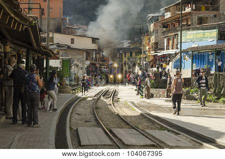 Train tracks in Aguas calientes, Peru