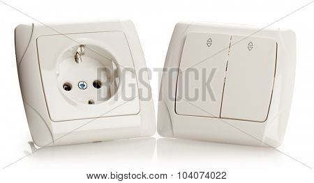 Electric Socket and Switch on White background.