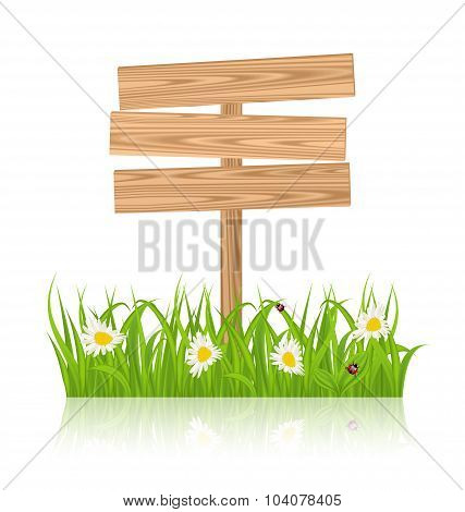 Wooden signboard for guidepost with field green grass and camomi