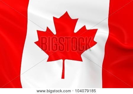 Waving Flag Of Canada - 3D Render Of The Canadian Flag With Silky Texture