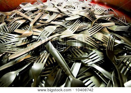 Forks in a silverware factory