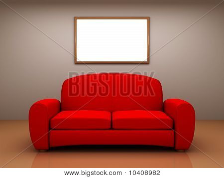 Red Sofa In A Room With A Blank Picture