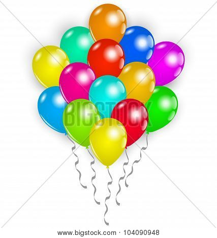 Set colorful balloons on white background