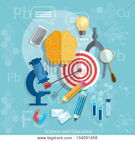 Education and Science target graduation concept chemistry physics mathematics vector illustration poster