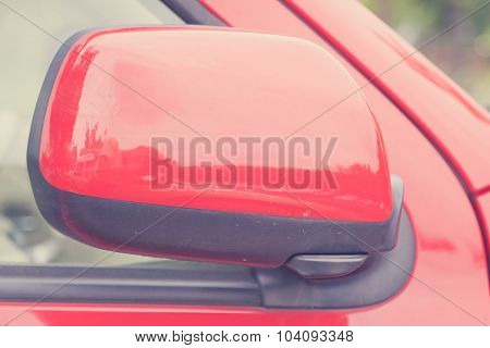 luxury car closed wing mirror after parking for safety