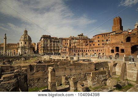 Remains of The Forum of Augustus is one of the Imperial forums of Rome, Italy, built by Augustus.