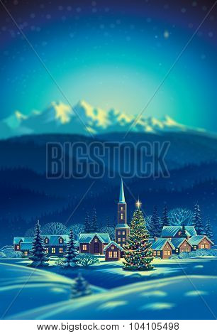 Winter rural holiday landscape with Christmas tree.