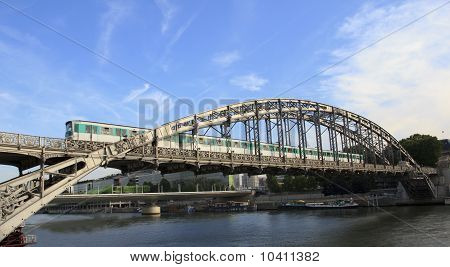 Train Cross Over The Seine River In Paris