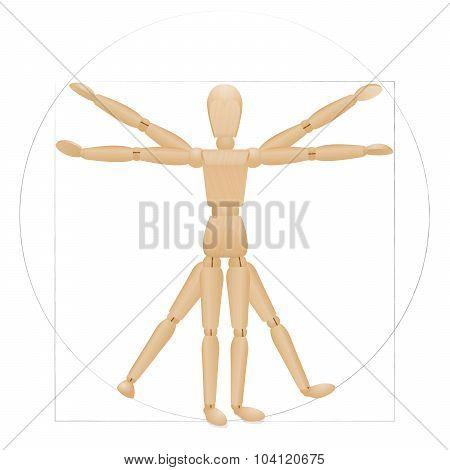 Vitruvian Mannequin Wooden Figure