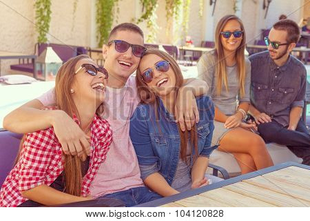 Young Friends Smiling And Having Fun