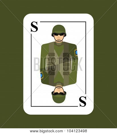 Playing Card Soldiers. Conceptual New Card Military Man. Takes In Game All  Characters.  Armed Force