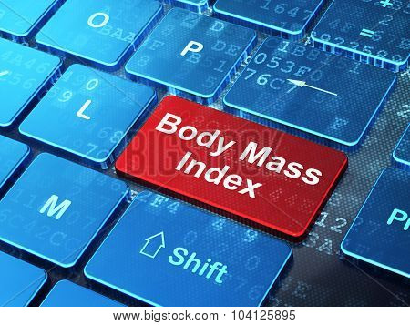 Healthcare concept: Body Mass Index on computer keyboard background