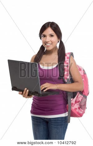 Hispanic College Student Girl With Laptop, Backpack
