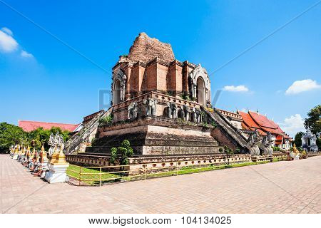 Wat Chedi Luang is a Buddhist temple in the historic centre of Chiang Mai Thailand poster