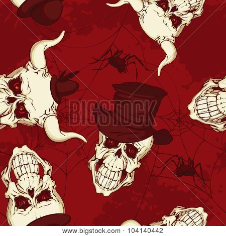 Seamless Pattern, Paper With Skulls