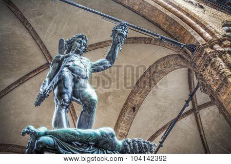 Perseo holding Medusa head statue in Loggia de Lanzi Florence poster