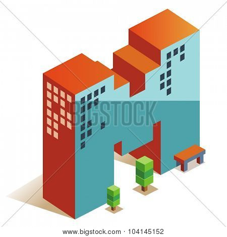 Mike latin alphabet letter in skyscraper shape poster
