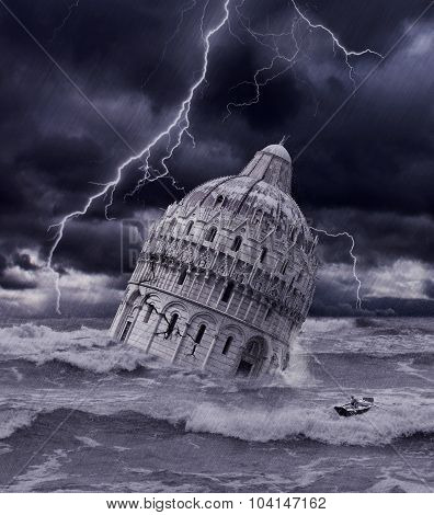 Tower sinking in flood and storm