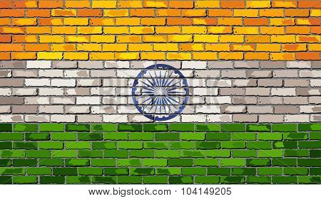 Grunge Flag Of India On A Brick Wall