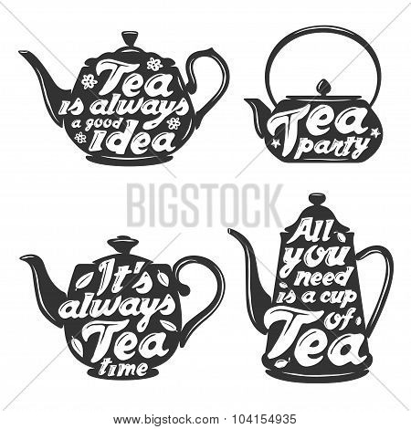 Set of tea pot silhouettes with quotes.