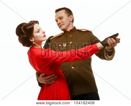 Couple Dancing A Waltz. Period - The Second World War.
