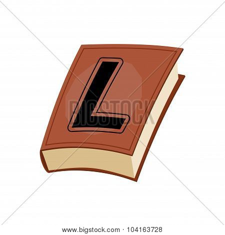 Letter L At Vintage Book In Hardcover. Alphabetical Stashes On Book Cover.