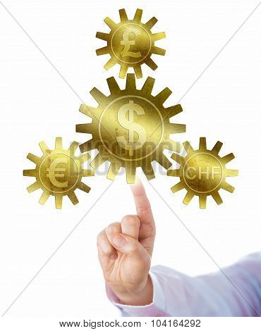 British pound sterling euro and Swiss franc pegged to the dollar via a triad of small cog wheels interlocking with one big gearwheel in the center. Economic metaphor for legal tender and fiat money. poster