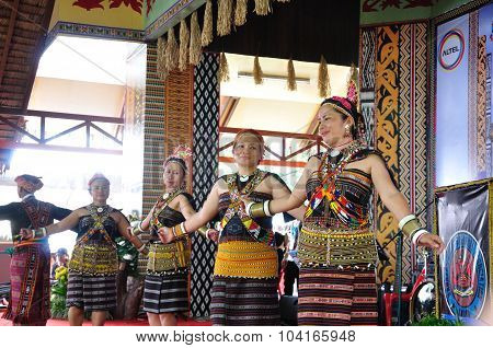 Dancers In Traditional Dusun Tindal Costume