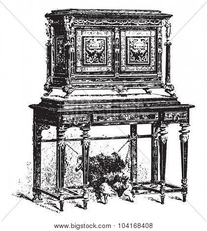 Cabinet Fourdinois, vintage engraved illustration. Industrial encyclopedia E.-O. Lami - 1875.