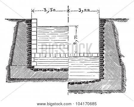 Transverse half-sections of a sluice lock, vintage engraved illustration. Industrial encyclopedia E.-O. Lami - 1875.